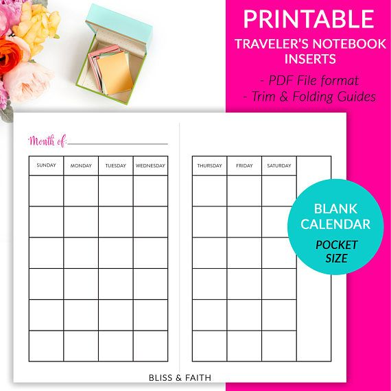 Printable Pocket Size Traveler S Notebook Inserts Blank Month On 2 Pages Calendar Sunday Sta Pocket Calendar Template Printable Printable Calendar Template