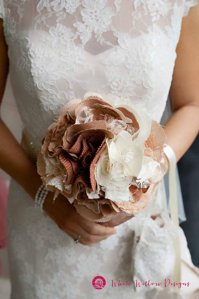 Vintage lace detail; classic rose fabric bridal wedding flower bouquet