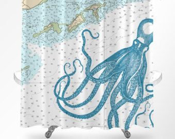 Octopus Shower Curtain Nautical Shower Curtain Octopus