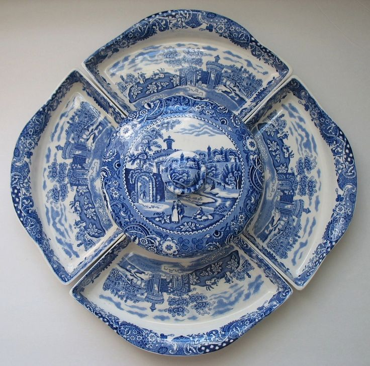 Staffordshire Blue & White English Transferware Lazy Susan 6 pc set with platters