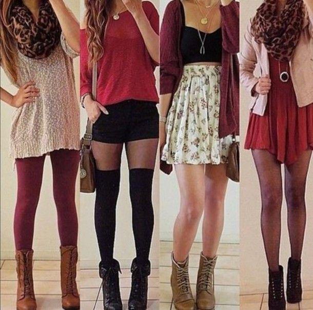 Skirt: scarf, cheetah, red, sweater, cardigan, boots, jewlery ... mmmmm
