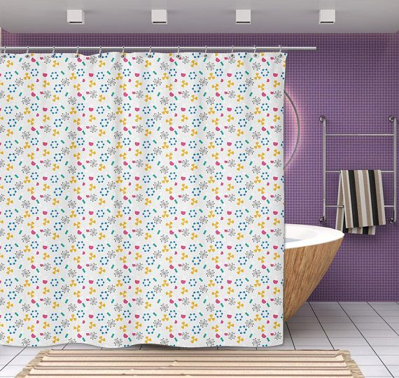 New Science Shower Curtain Atoms Beakers Molecules 70x70 Quot