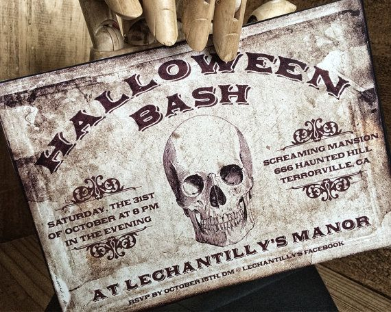 116 best exceptional halloween invites images on pinterest halloween digital invitation skull vintage by damnfrenchdesserts stopboris Choice Image