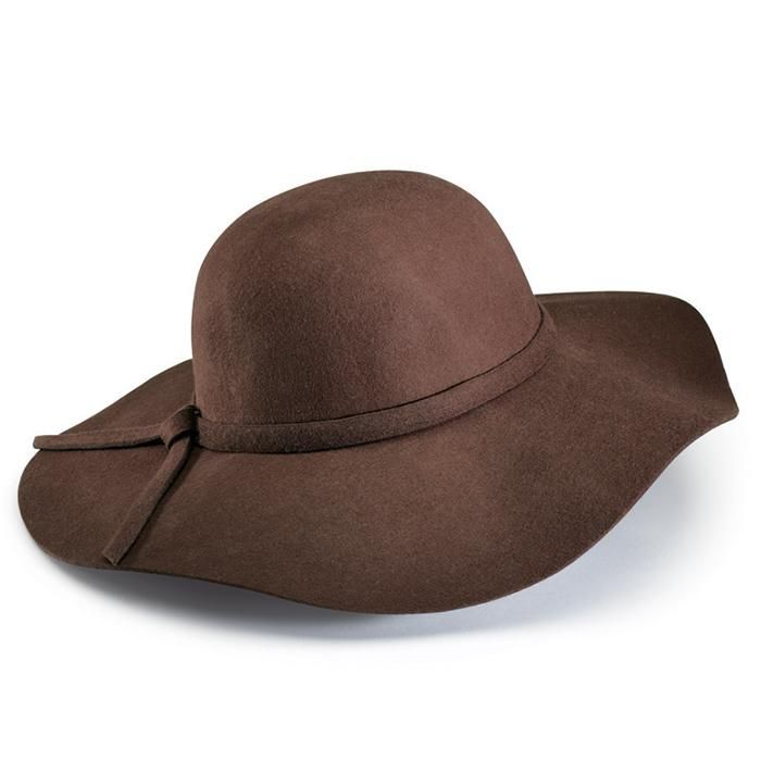 Top off your look! A hippie-chic must-have, this brown floppy hat adds instant free-spirit flavor. One size fits most. Wool Wipe clean with a dry cloth #hats