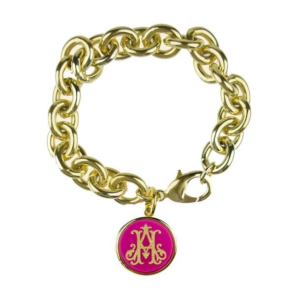 Moon and Lola xx Emily McCarthy Engraved Charm Bracelet Interlocking Font
