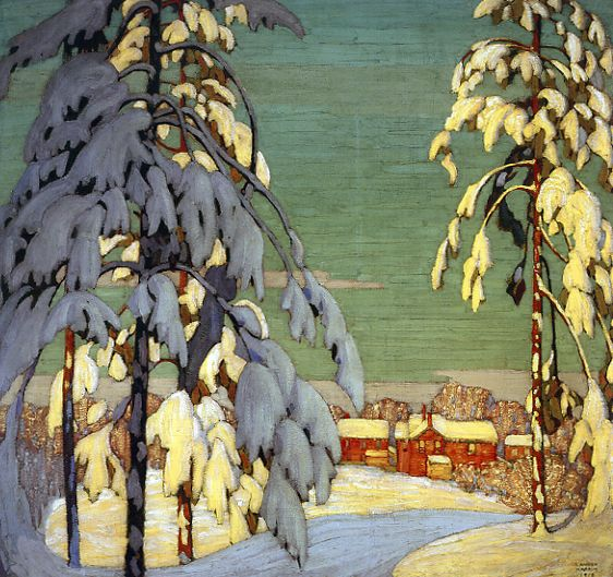 Pink House Landscape c.1918 Lawren Harris /////Click for further works by Lawren Harris.....