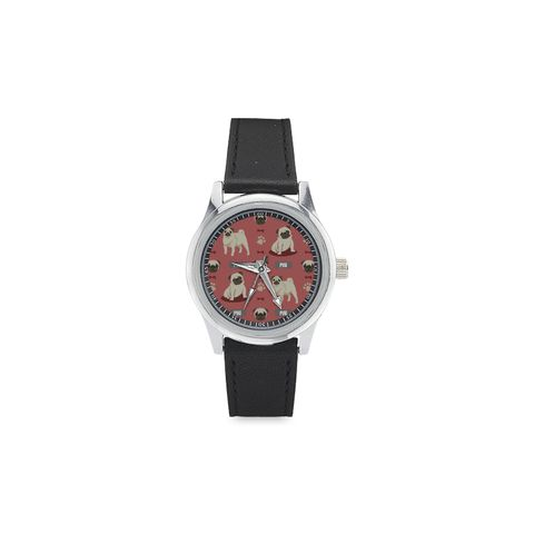 Pug Pattern Kid's Stainless Steel Leather Strap Watch