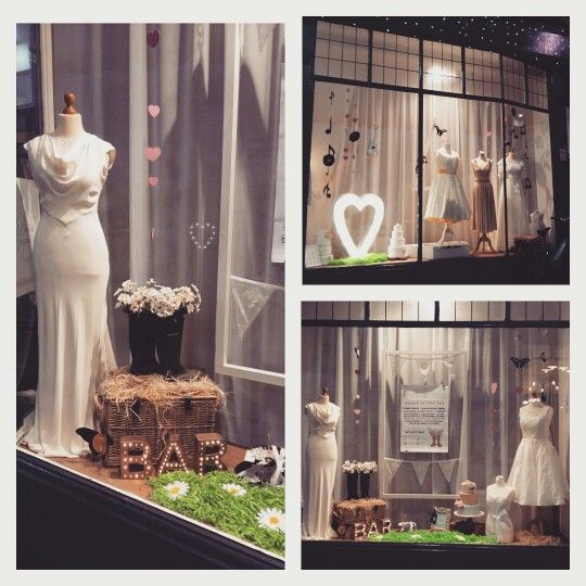 Window display at The Bridal Emporium June 2015, Leeds. Festival wedding theme with letter lights!