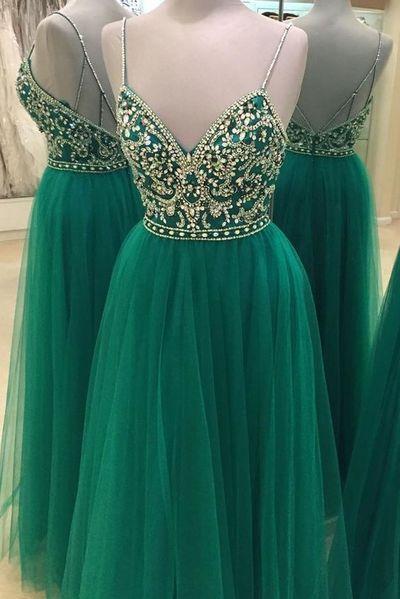 Green Beaded Prom Dress,Backless Tulle Prom Dress,Custom Made Evening Dress,17286
