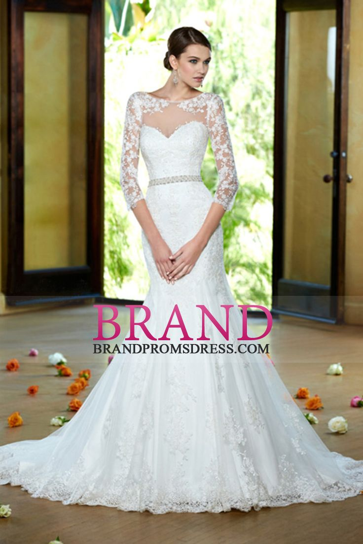 2014 Bateau Mermaid/Trumpet Wedding Dress With Beaded Sash And Applique
