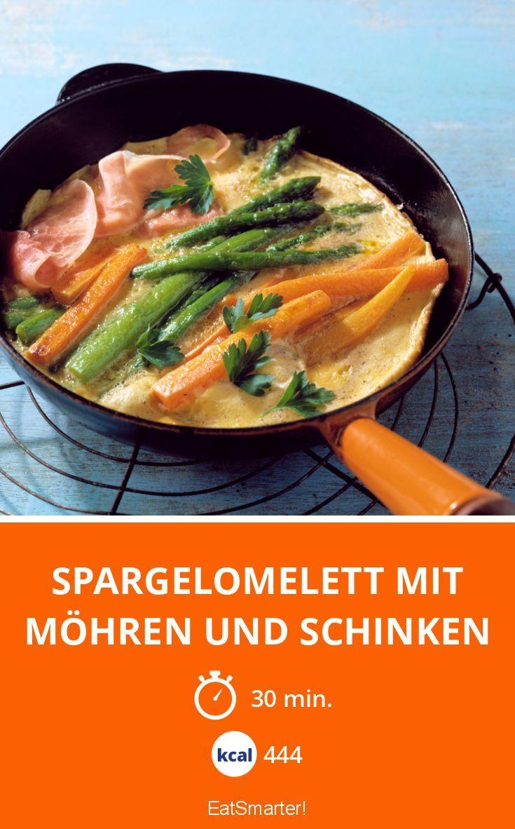 Spargelomelett mit Möhren und Schinken #Spargel #lecker #low carb
