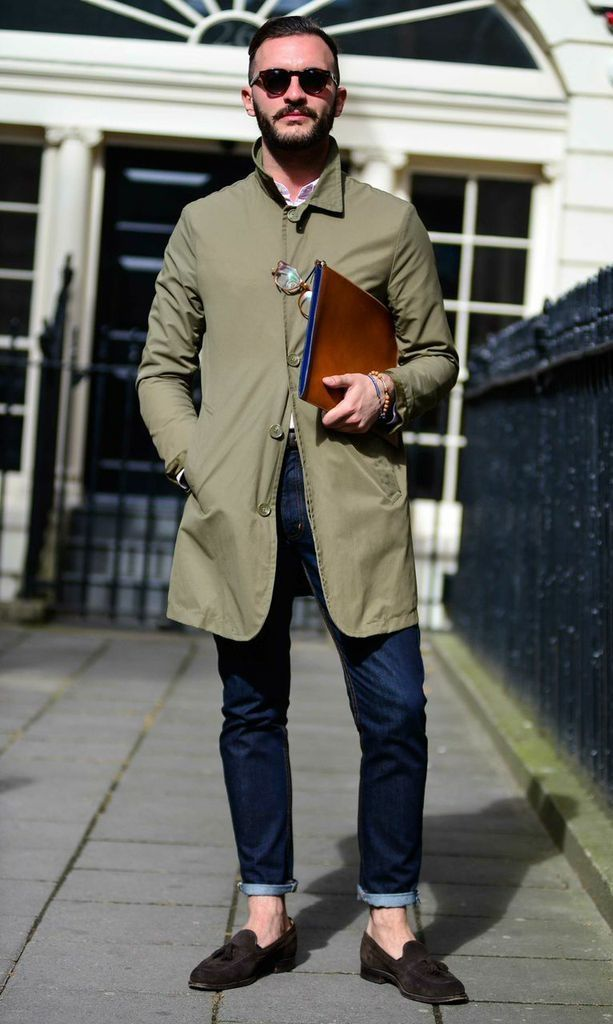 Olive Drab Raincoat, and Dark Skinny Jeans, Street Style NYC, Mens Spring Summer Fashion.