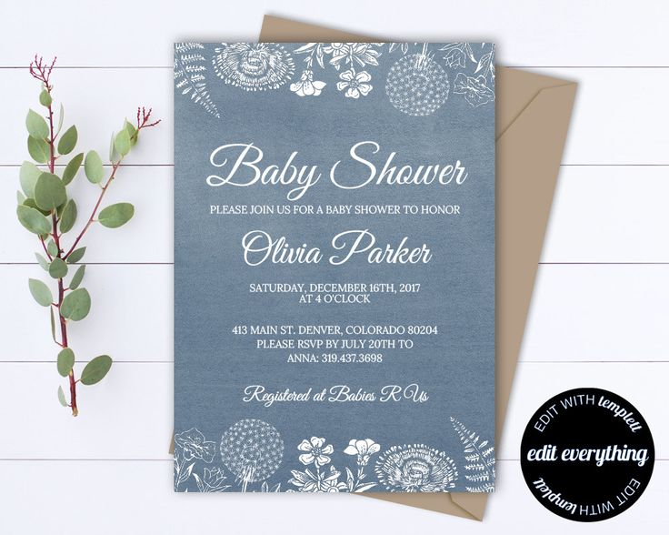 Rustic Baby Shower Invitation Template - Girl Baby Shower Invite - Baby Boy Shower Invitation - Country Baby Shower Template - Rustic Shower by MintedMemories on Etsy