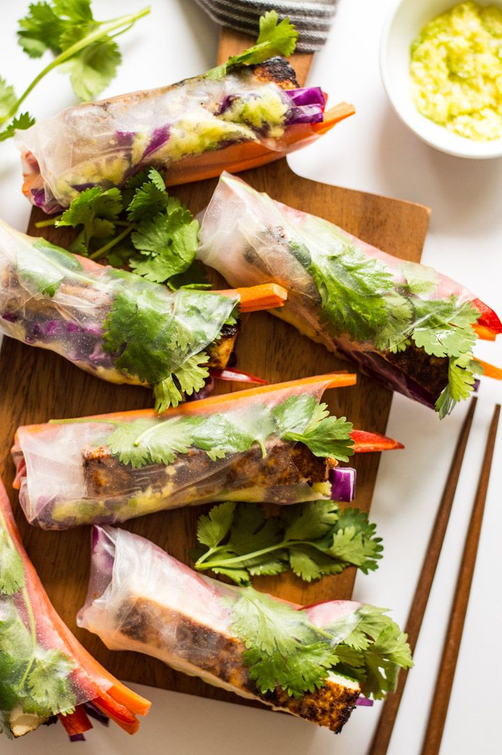 Red Curry Brown Sugar Tofu Spring Rolls with Ginger Onion Paste - vegan and gluten-free appetizer! | healthynibblesandbits.com @healthynibs