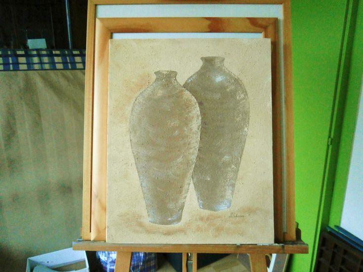 Acryl / gemengde techniek 40 / 60 cm op canvas schildersdoek