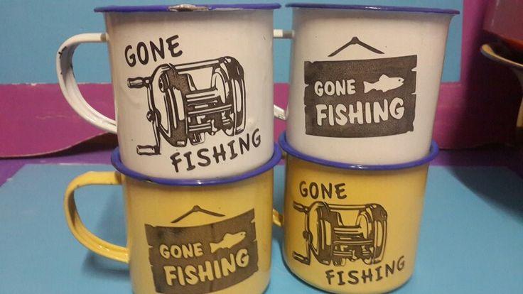 Fishing enamel mugs