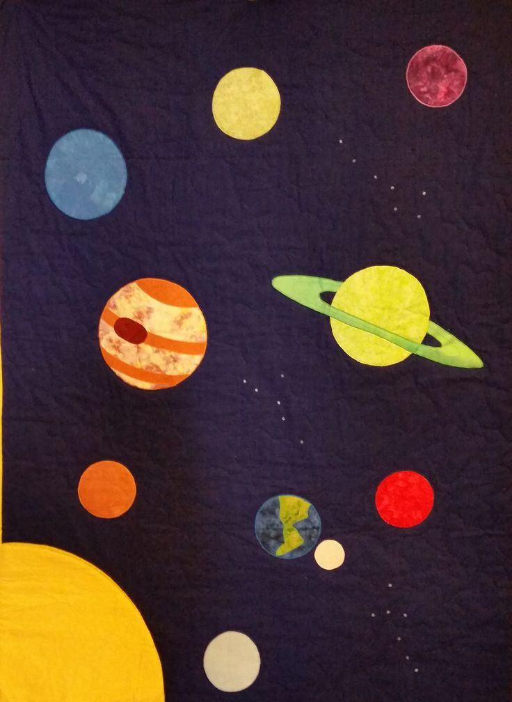 Solar system quilt and play mat pattern includes patterns for Space themed fabric