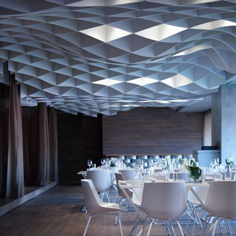 Vammos Restaurant by LM Architects. #ceilingclouds #modernarchitecture