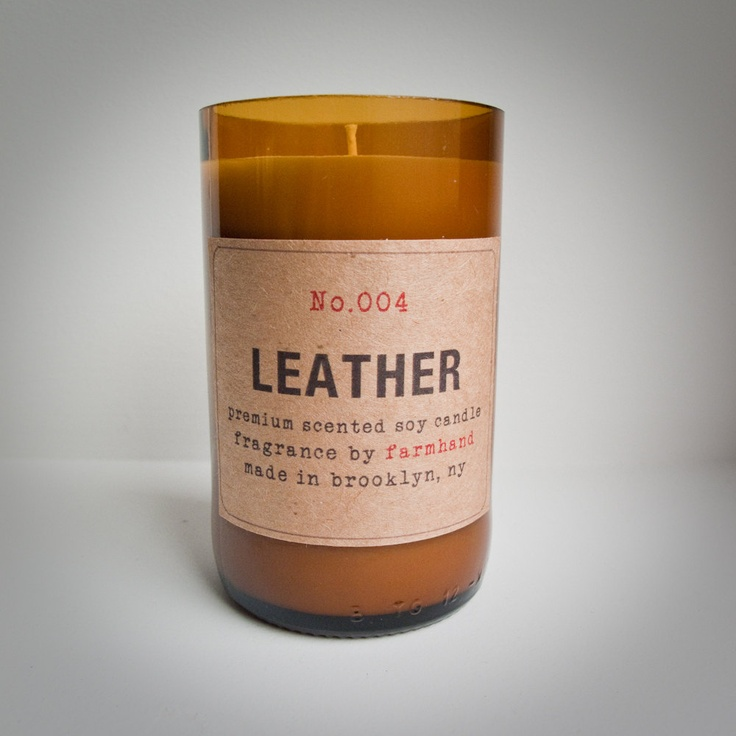 Leather scented eco friendly hand poured 7oz soy candle for Garderobe yak