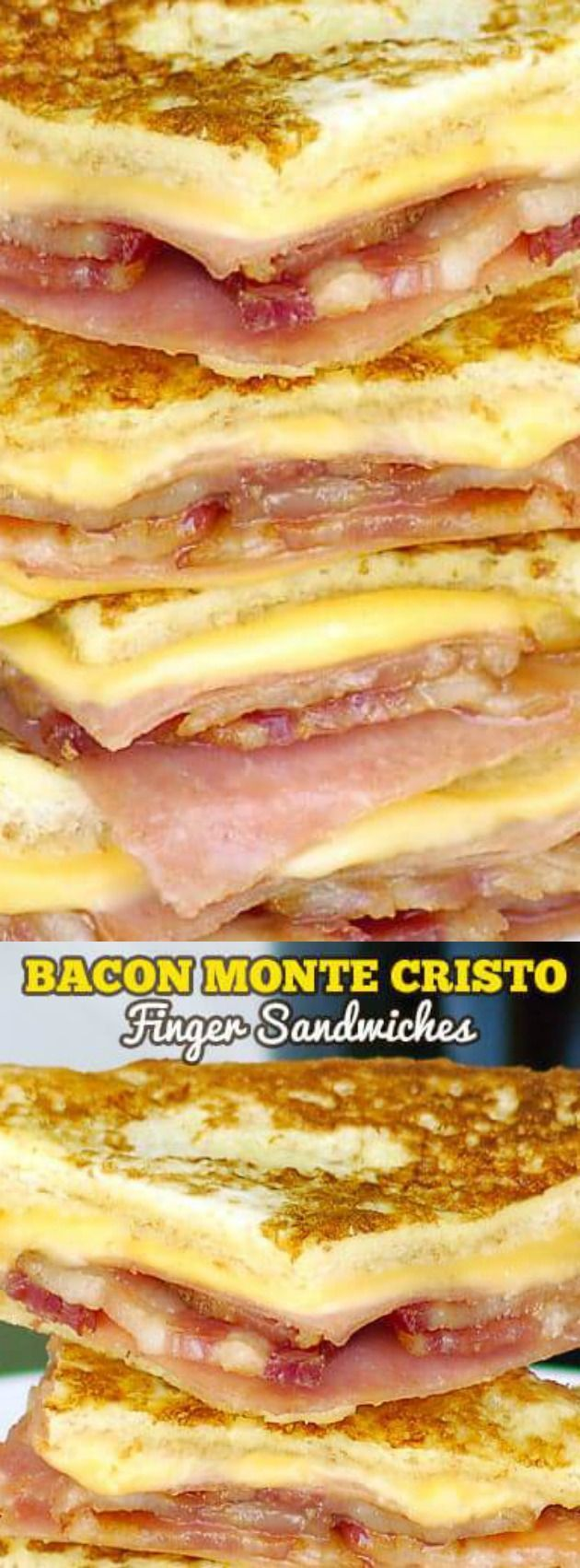 These easy Bacon Monte Cristo Finger Sandwiches from The Slow Roasted Italian are fully loaded with meat and ooey gooey cheese!