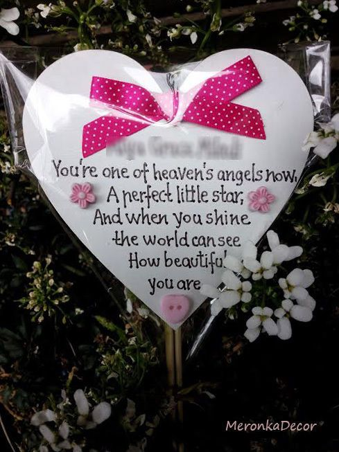 Memorial heart-Baby funeral verse- Child Grave Ornament- Personalised Plaque