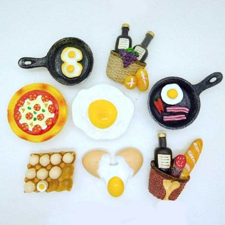 Серия продуктов питания 3d магниты На Холодильник Пицца Яйцо Творческий Смолы Украшения Дома Холодильник Магнитная Наклейка мини симпатичные 5 купить на AliExpress