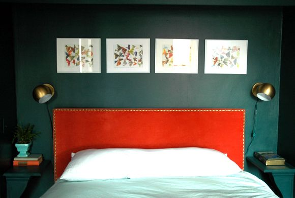 love the headboard, floating scones and barely visible side tables....now how do i do this in my room?   Little Green Notebook