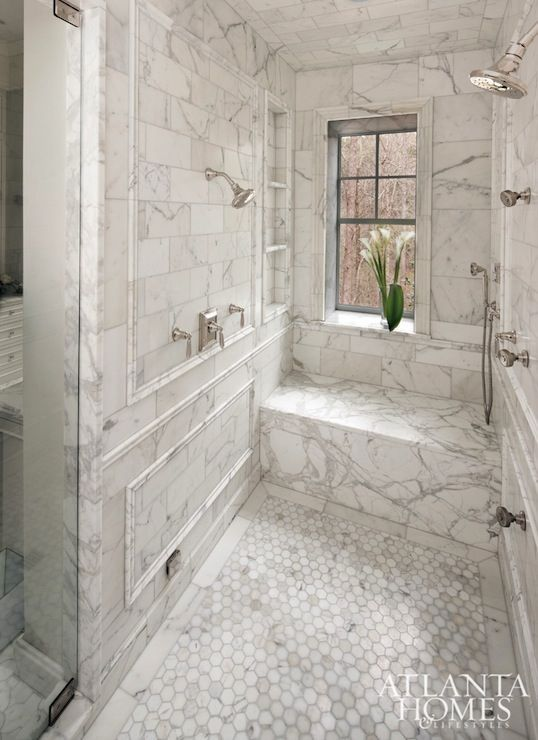 Stainback Hess Studio   Master Bathroom Shower Features Calcutta Gold Marble  Tiles On Walls And Ceiling Accented With Calcutta Gold Marble Trim Moldings.