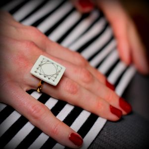 DIY cross stitch ring using air dry clay