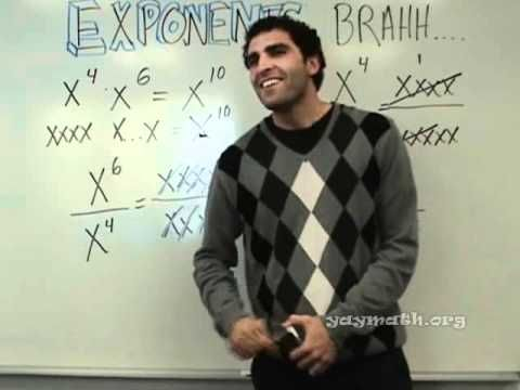 I don't teach high school math but I watched this entire video and wanted to sit through the rest of his class. He is awesome!! Algebra 2 - Exponents