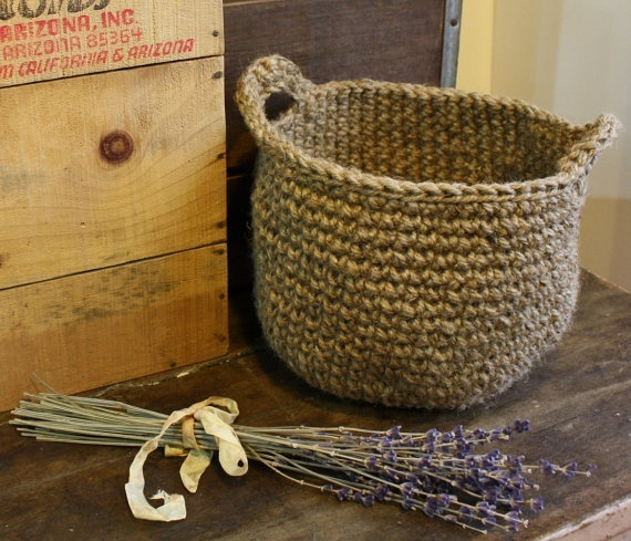 Handmade jute basket on Etsy.
