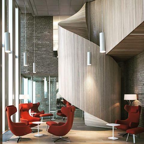 Circulation @mvrdv design of DNB Headquarters #mvrdv #vitrafurniture #vitra #modern #interiors #interiordesign #design #architect #architecture #modernarchitecture #feature #furniture #furnituredesign #staircase #wood  #stairs #oslo #dutch #norwegian