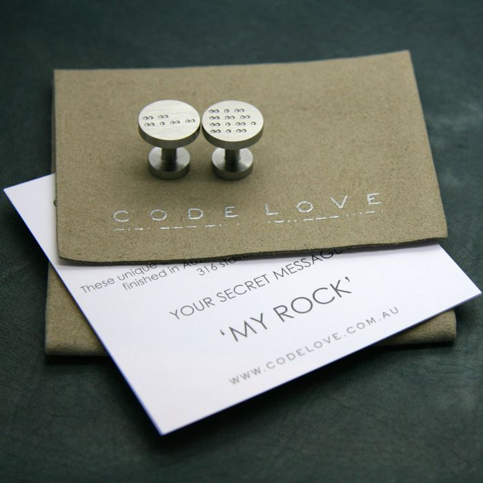 CODE LOVE 'MY ROCK' Morse Code Cufflinks - All Code Love Cufflinks are produced out of the finest quality 316 grade stainless steel. Code Love cufflinks are individually lathed and hand finished, the whole process from start to finish is crafted in Australia. www.codelove.com.au