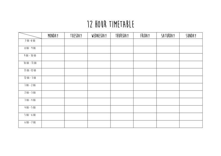 blank study timetable