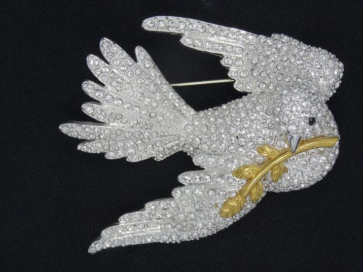 "RARE VINTAGE JOAN RIVERS FULL PAVE COVE of PEACE BIRD PIN BROOCH  ~ 2.75"" #JoanRivers"