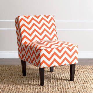 Abbyson Sasha Orange Chevron Fabric Slipper Chair
