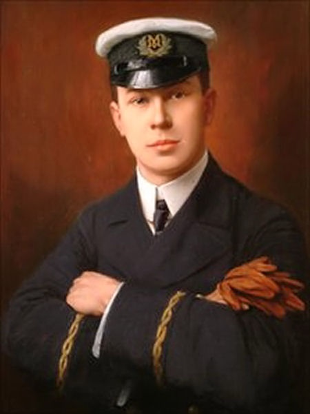 Jack Philips by Martin Ellis. Telegraphic Officer on the Titanic. Went down with the ship,after sending message to the Carpathia. Picture courtesy of Godalming Town Hall.