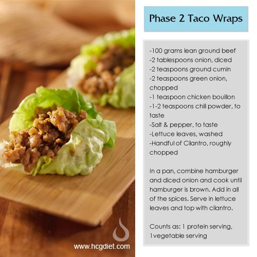 Phase 2 Taco Wraps. I made and love this! I used romaine lettuce leaves and ground chicken instead of beef. I also added Bragg's aminos. So yummy! No cumin or cilantro. (TC)