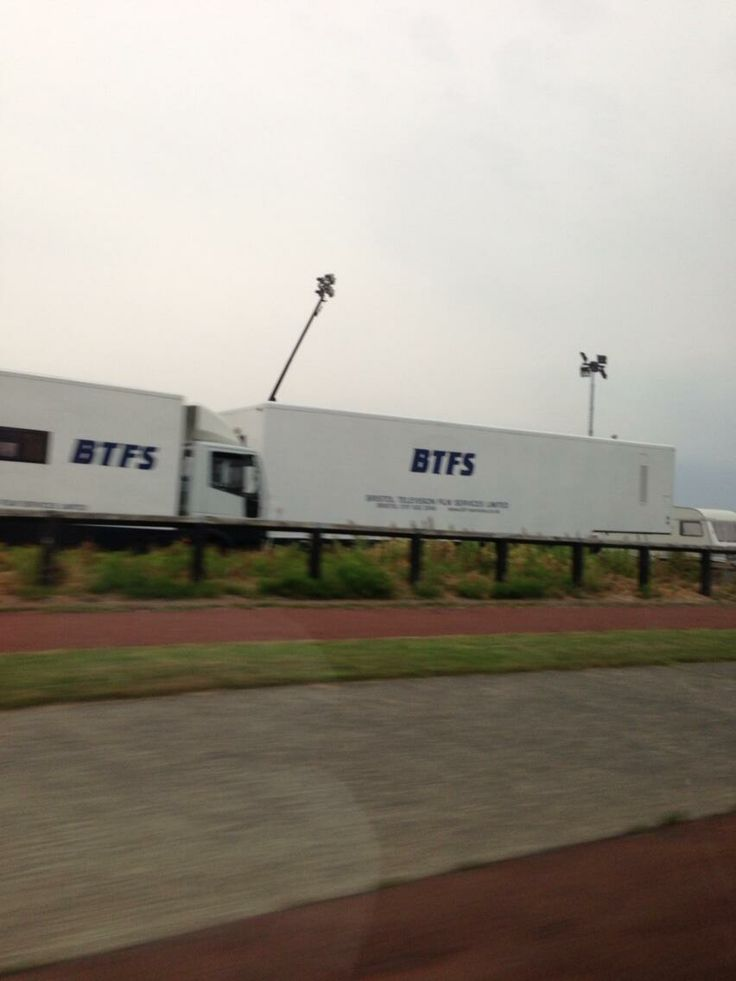 """Some filming going on down #whitleybay for TV series """"Vera"""". Lots of vans, lighting equipment..."""