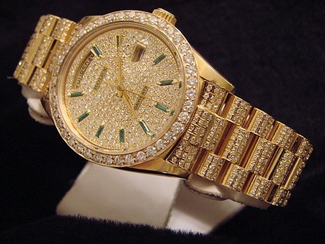 Mens Rolex 18k Gold Day Date President Diamond Watch ...