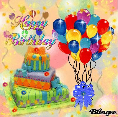 "Happy Birthday Cake and Balloons | ... balloons, and a flashing ""Happy Birthday"" on a pastel balloon"
