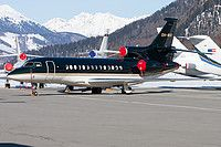 Jetflite Dassault Falcon 7X OH-WIX aircraft, parked at Suisse Samedan (or Engadin) Airport. 07/03/2015.