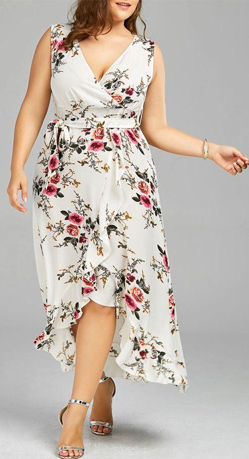 Plus Size Tiny Floral Flounced Overlap Dress