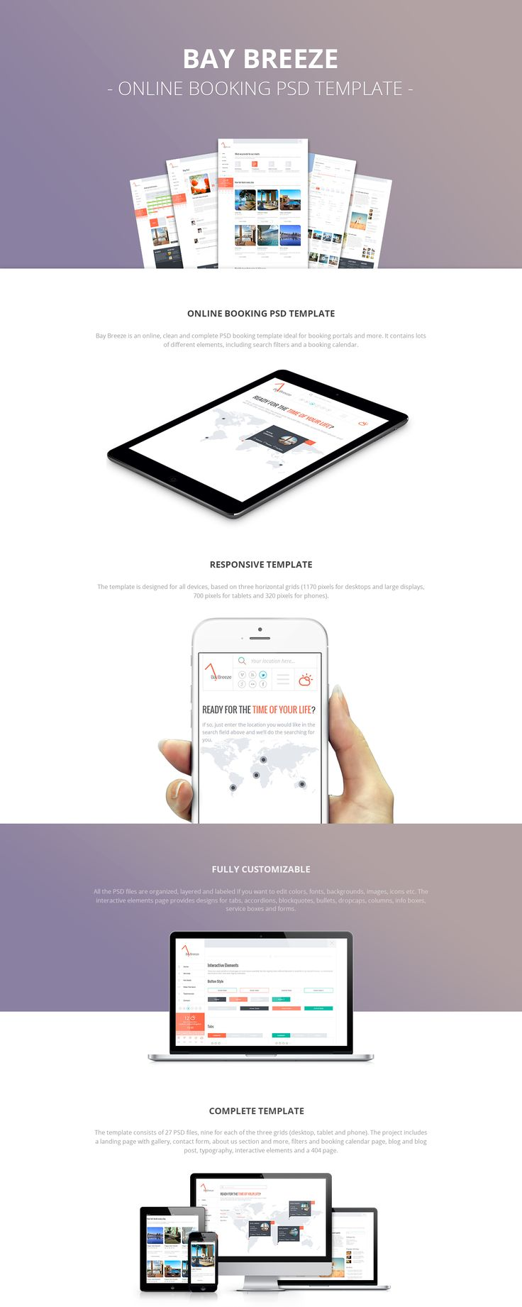 Bay Breeze is a clean and complete booking PSD template ideal for booking portals and more.