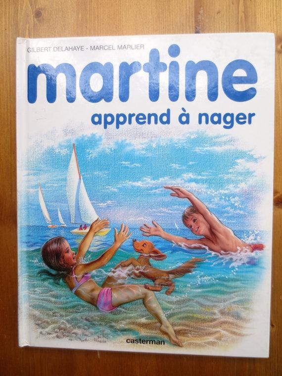 Martine Apprend a Nager (1974) by Gilbert Delahaye, Marcel Marlier - Vintage French Childrens Book