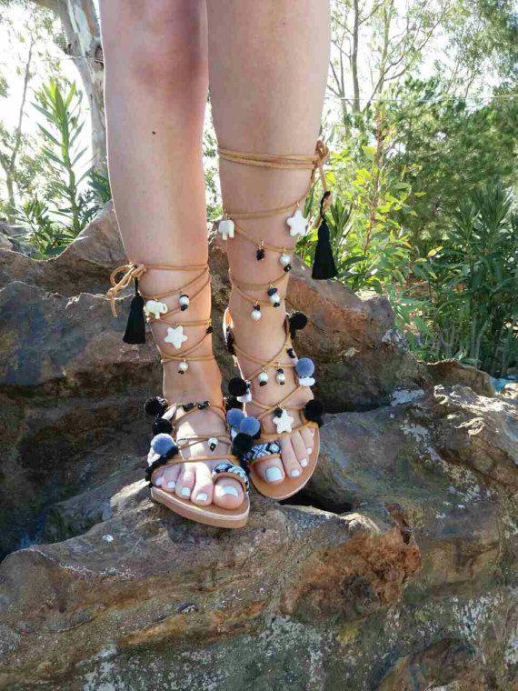 FREE SHIPPING Pom pom Sandals Gladiator Sandals