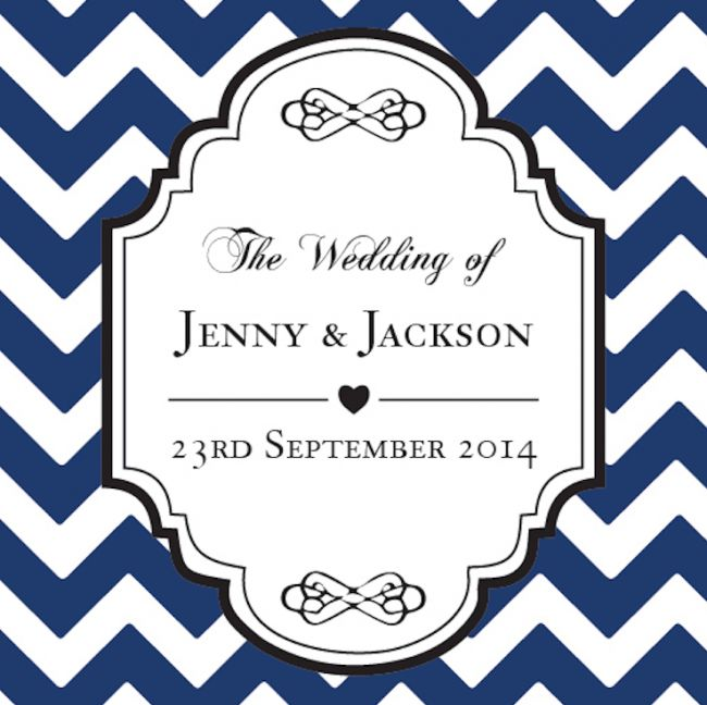 Chevron Personalized Favour Tag - Navy!!  #personalizedtags #Weddingtags