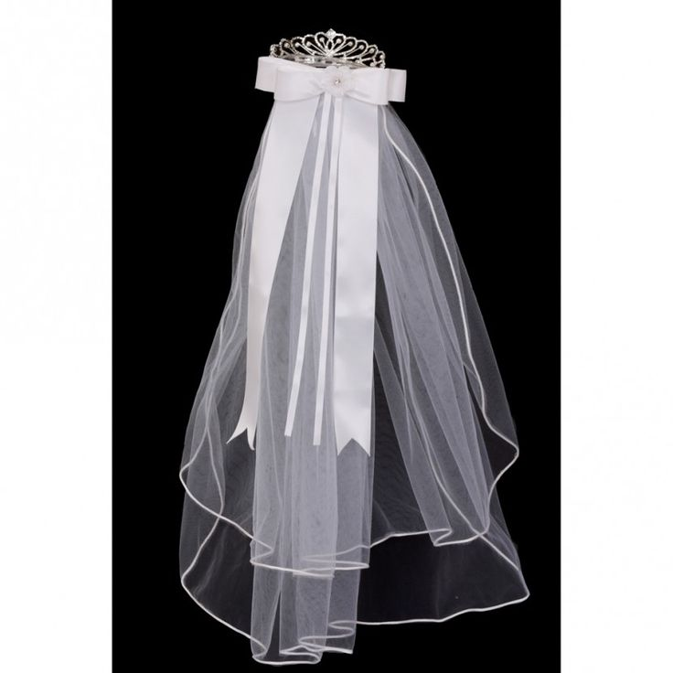 Girls White Rhinestone Crown Double Layer Mesh Communion Flower Girl Veil - Sophia's Style