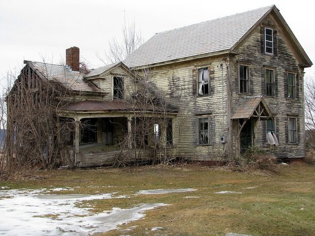 This is all that's left of the Ahern farm. The house has been empty for many years and, just recently people have broken in and busted out all the windows.