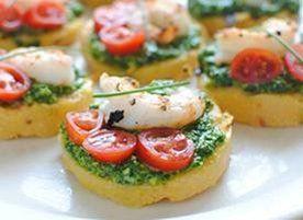 Polenta Bruschetta with Shrimp and Spinach Pesto (I'd probably be lazy and use pre-made pesto.